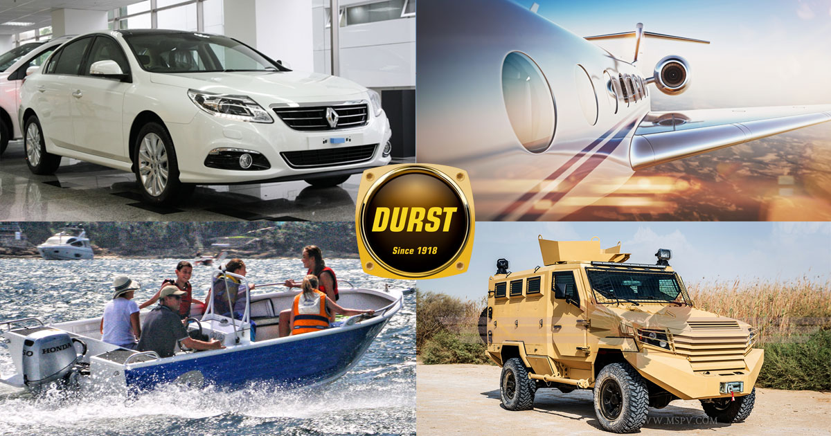 Aircraft, Marine, Automobile, Trucks, all industries that Durst supports