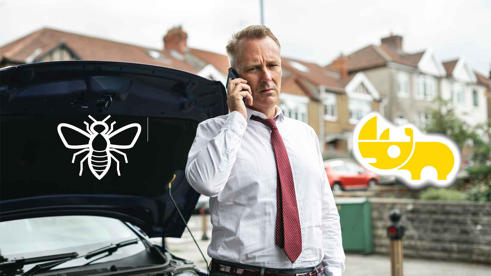 Man on phone with broken down car asking about Jump Starters