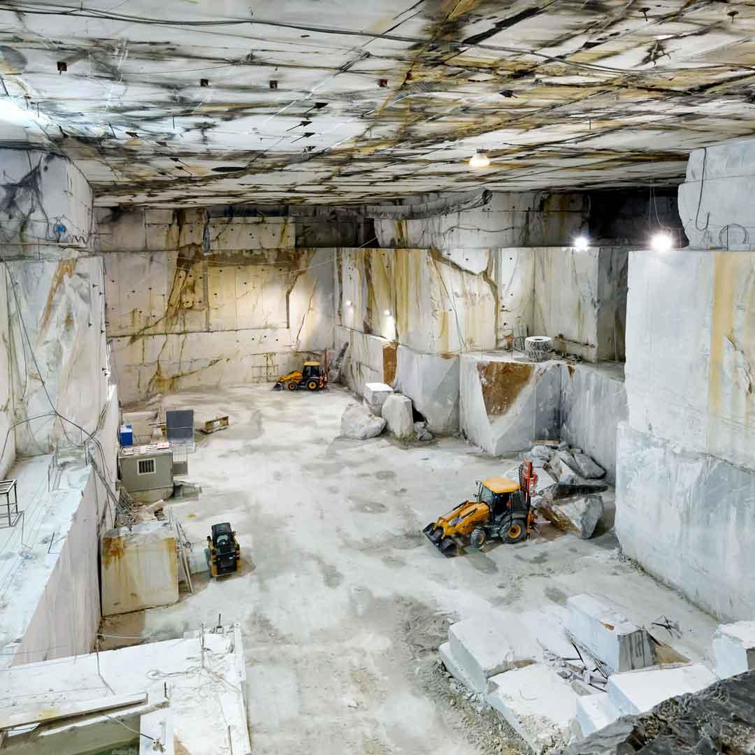Inside a mountain shaft marble mine