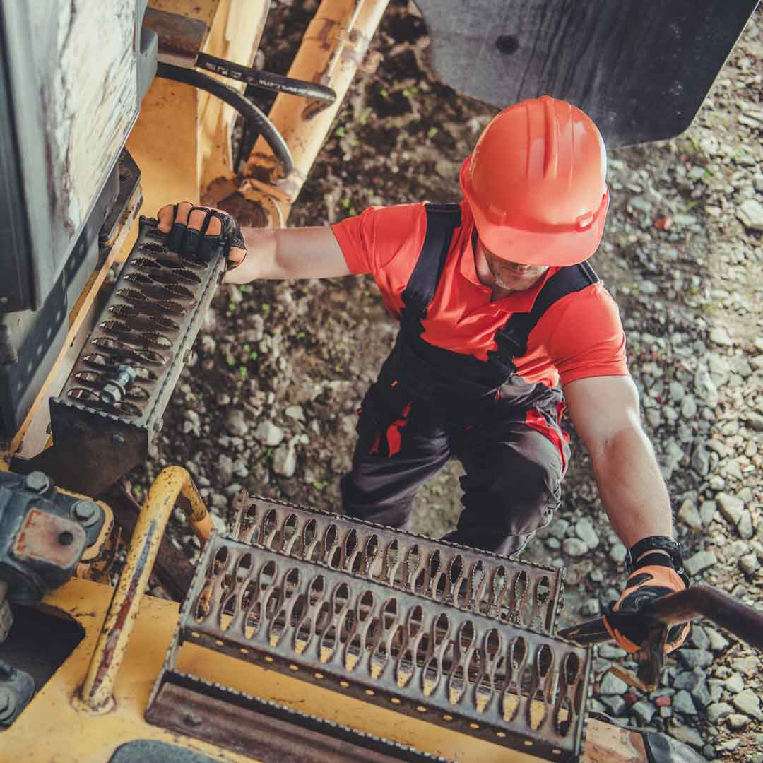 Mining truck driver working at mine